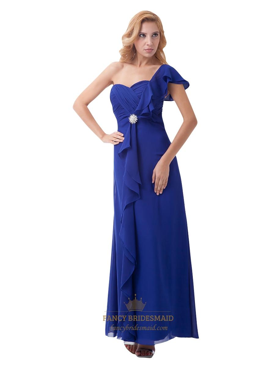 royal blue chiffon one shoulder bridesmaid dress with