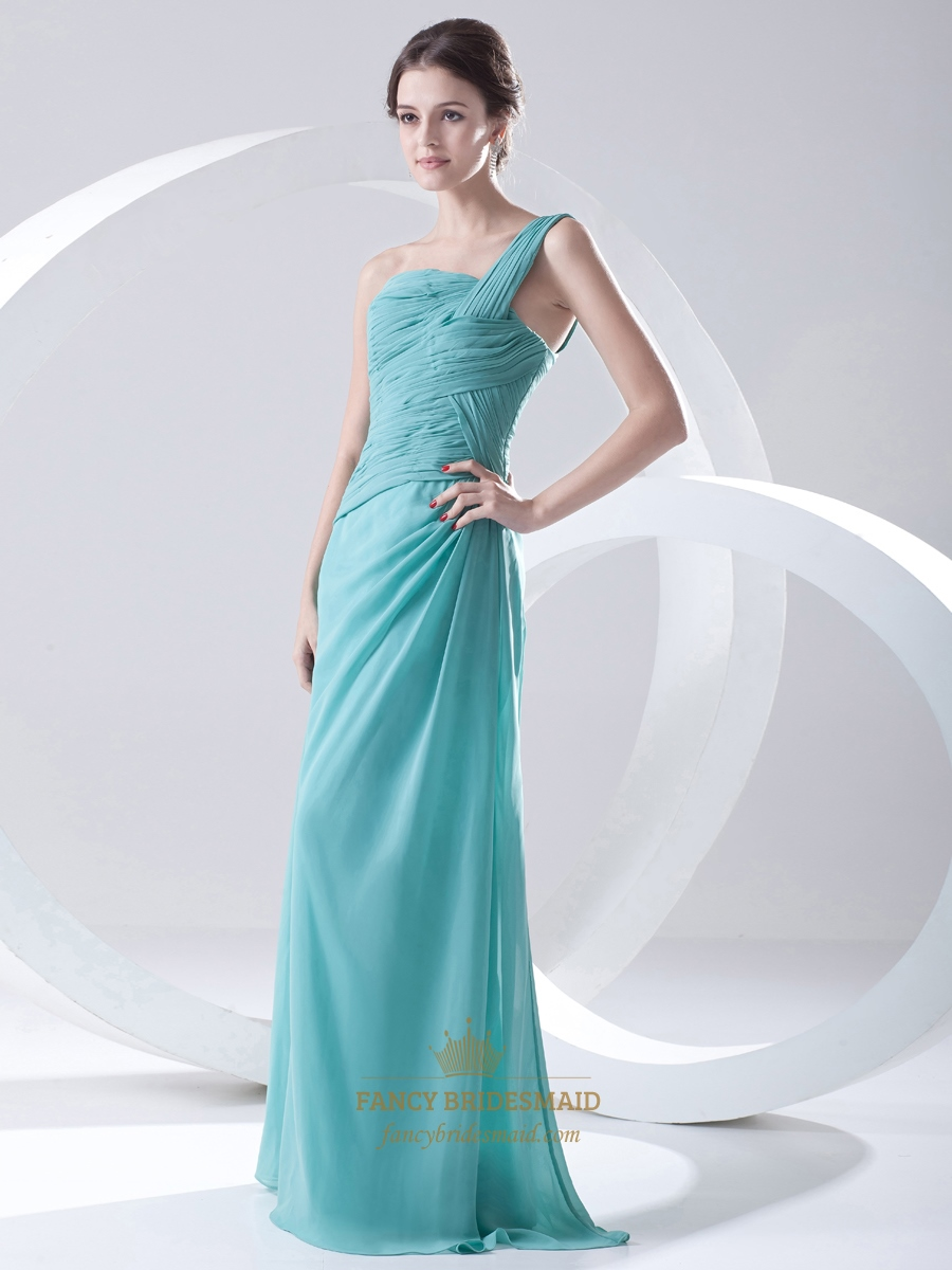 Turquoise One Shoulder Side Gathered Full Length Bridesmaid Dress ...