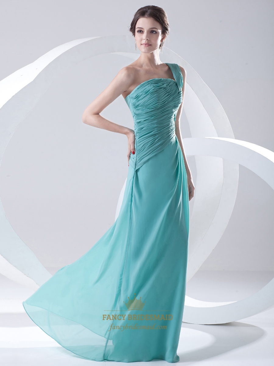 Turquoise one shoulder side gathered full length for Turquoise bridesmaid dresses for beach wedding