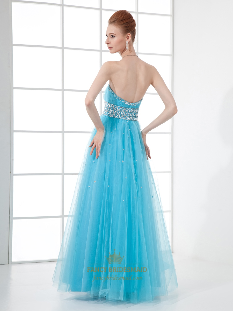 light blue strapless tulle prom dress with beaded