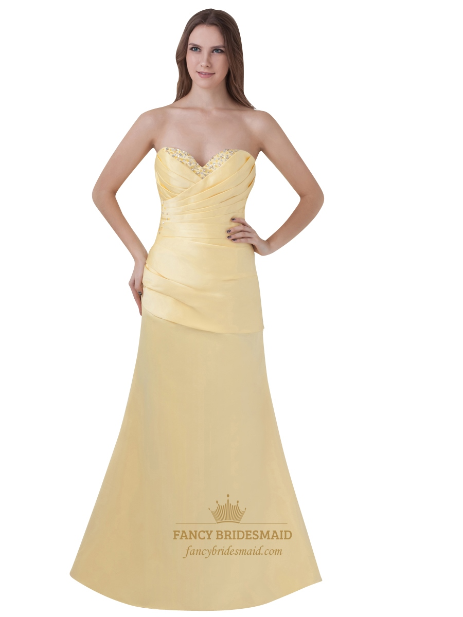 Yellow Beaded Prom Dresses 50