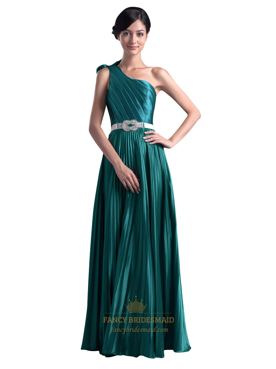 d661f59c955 Emerald Green One Shoulder Bow Trim Prom Dress With Beaded Detail SKU  -NW1005