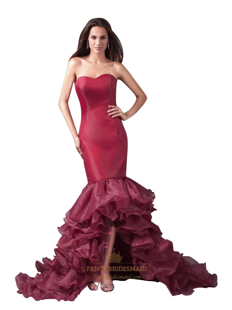 8f905f488778 Burgundy Mermaid High Low Strapless Evening Dress With Ruffled Skirt SKU  -NW1008