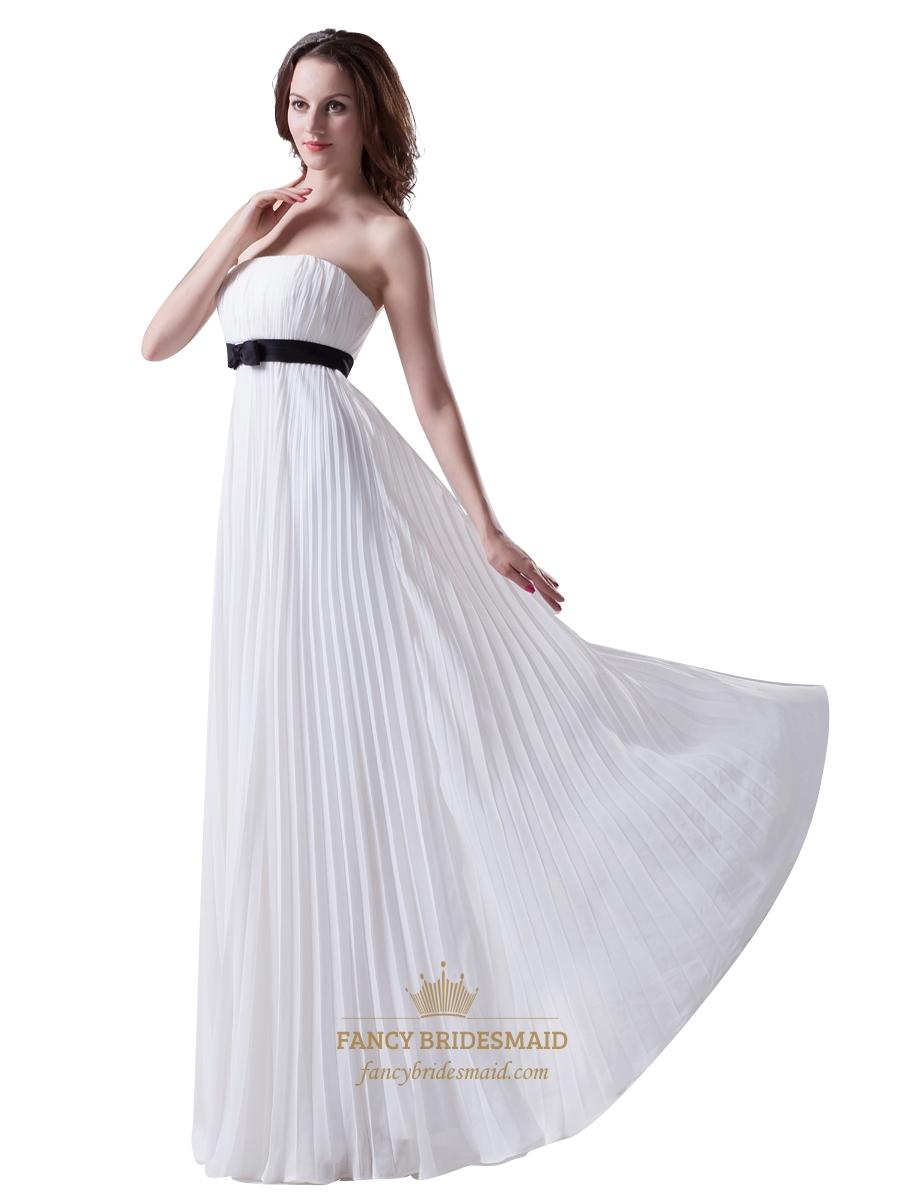 White Strapless Crinkle Chiffon Bridesmaid Dress With Black Sash