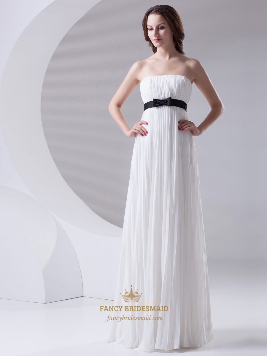 White Strapless Crinkle Chiffon Bridesmaid Dress With