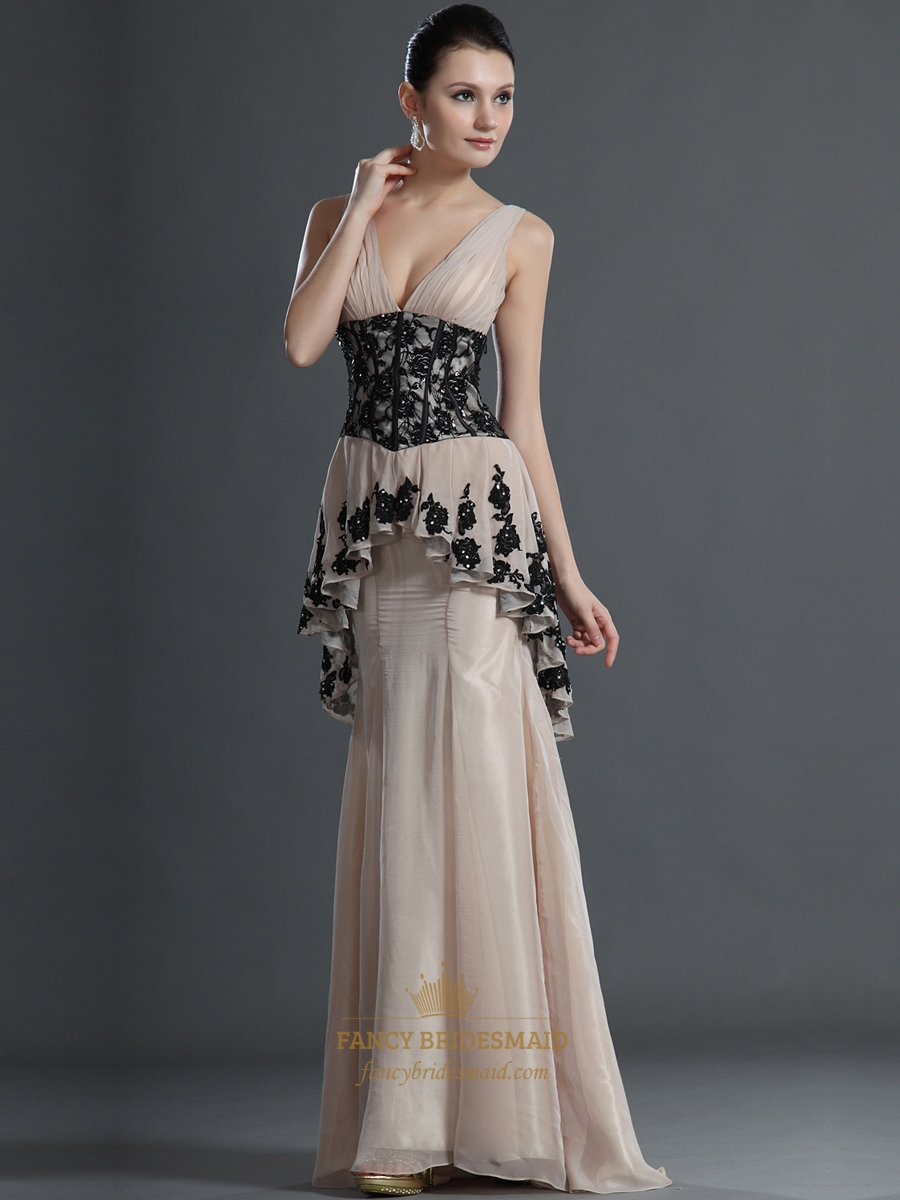 Champagne Peplum Mermaid V Neck Chiffon Prom Dress With