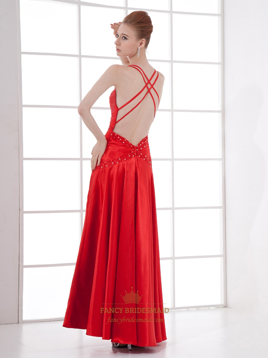 Red V Neck Spaghetti Strap Beaded Prom Dress With Criss