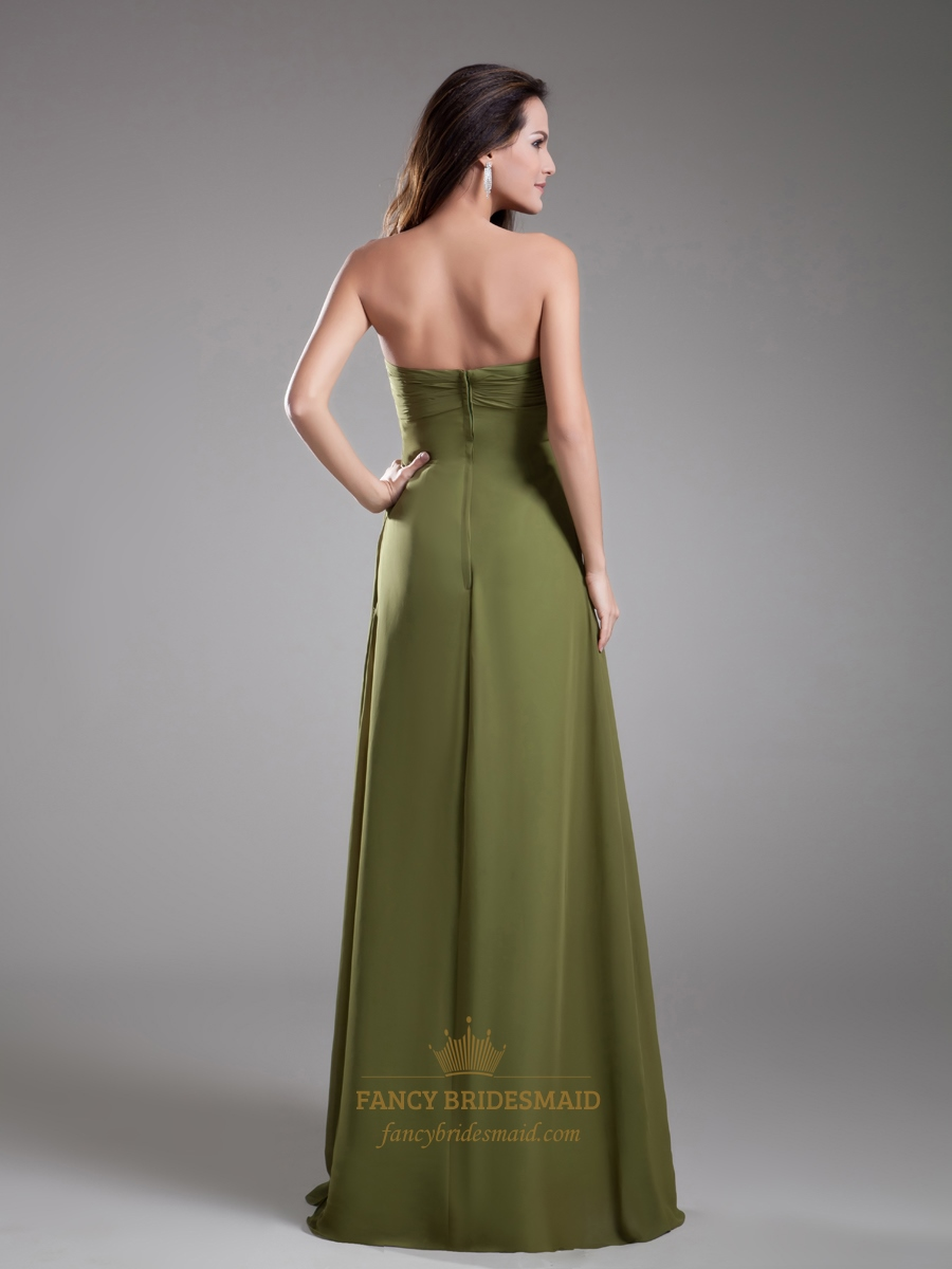 olive green sweetheart empire bridesmaid dresses with