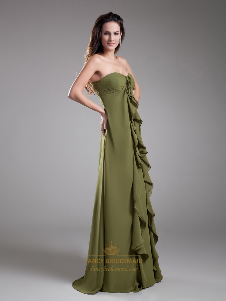 Olive green sweetheart empire bridesmaid dresses with for Olive green wedding dresses