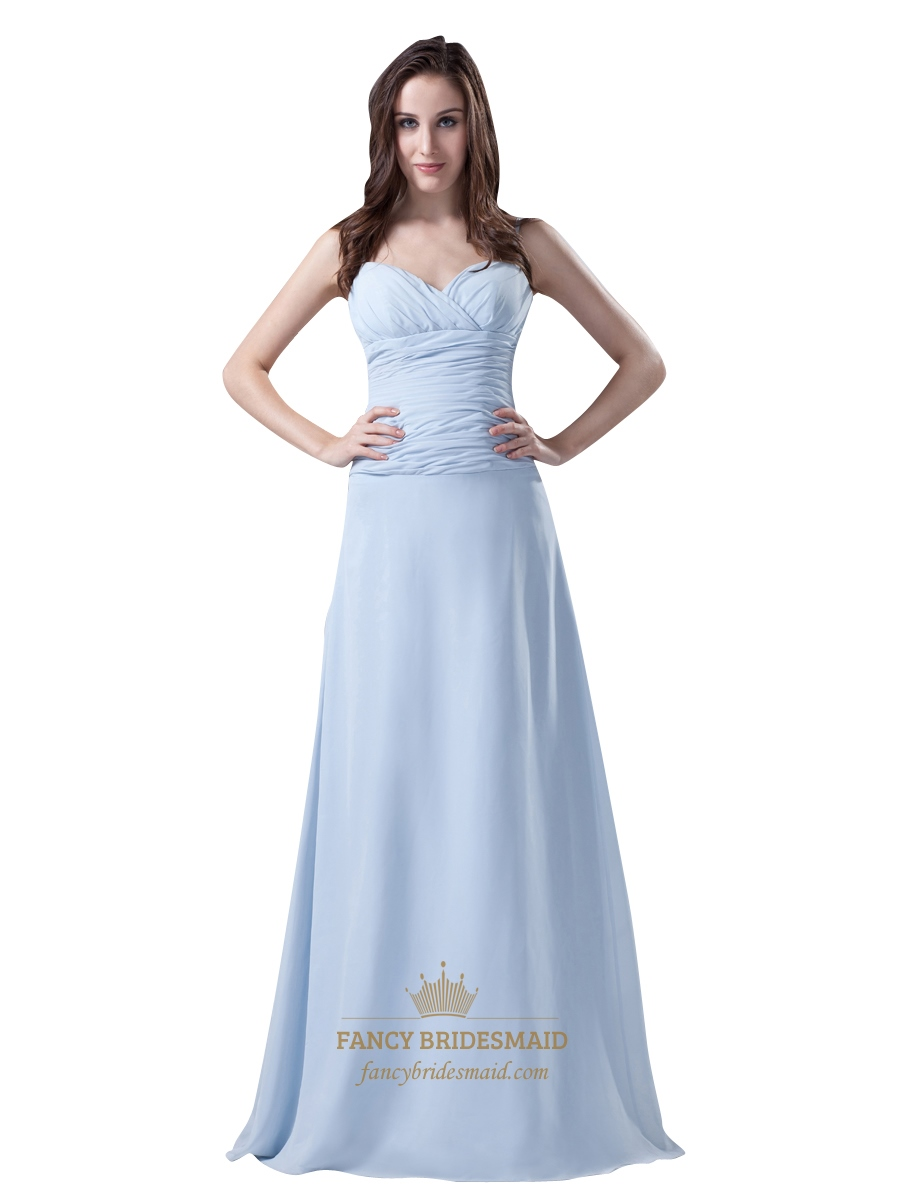 Sky blue spaghetti strap chiffon bridesmaid dresses for for Blue beach wedding dresses
