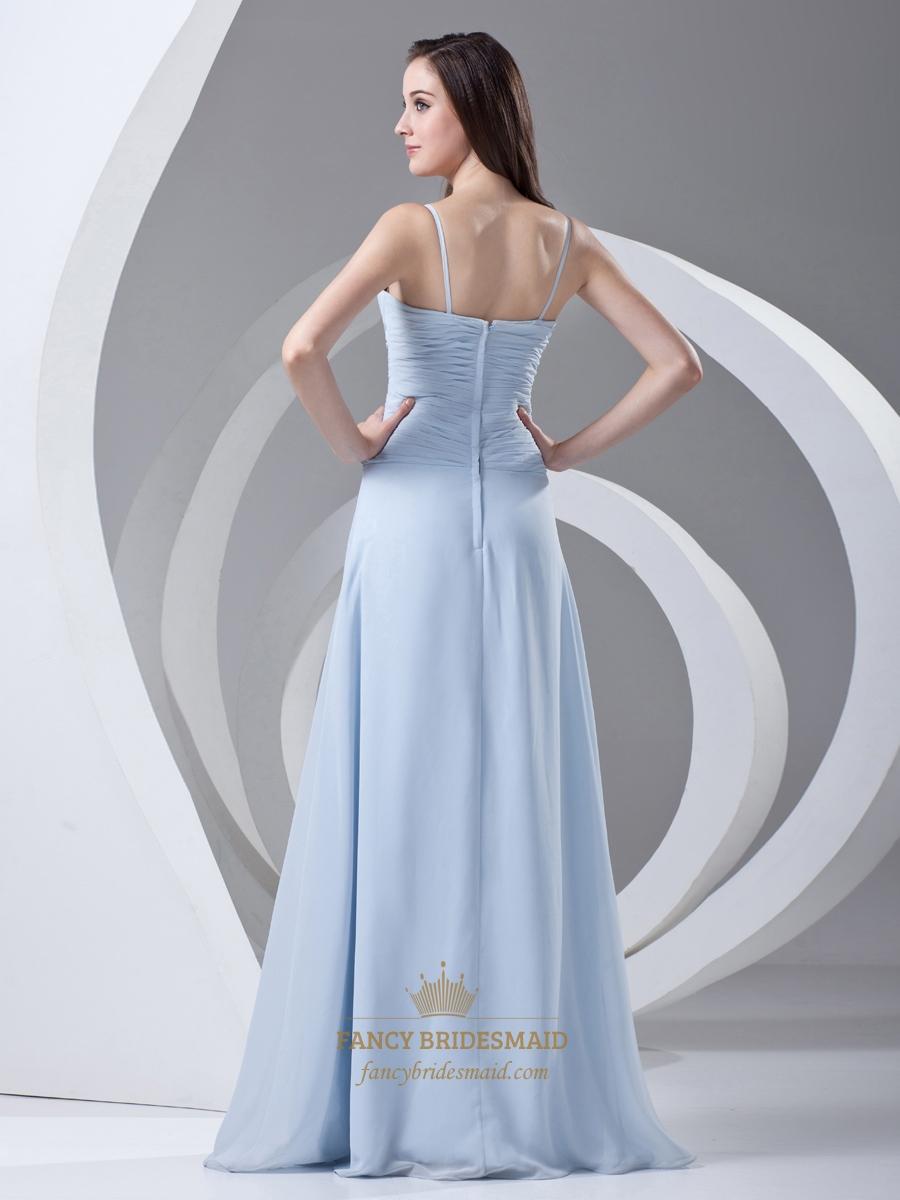 Sky Blue Spaghetti Strap Chiffon Bridesmaid Dresses For