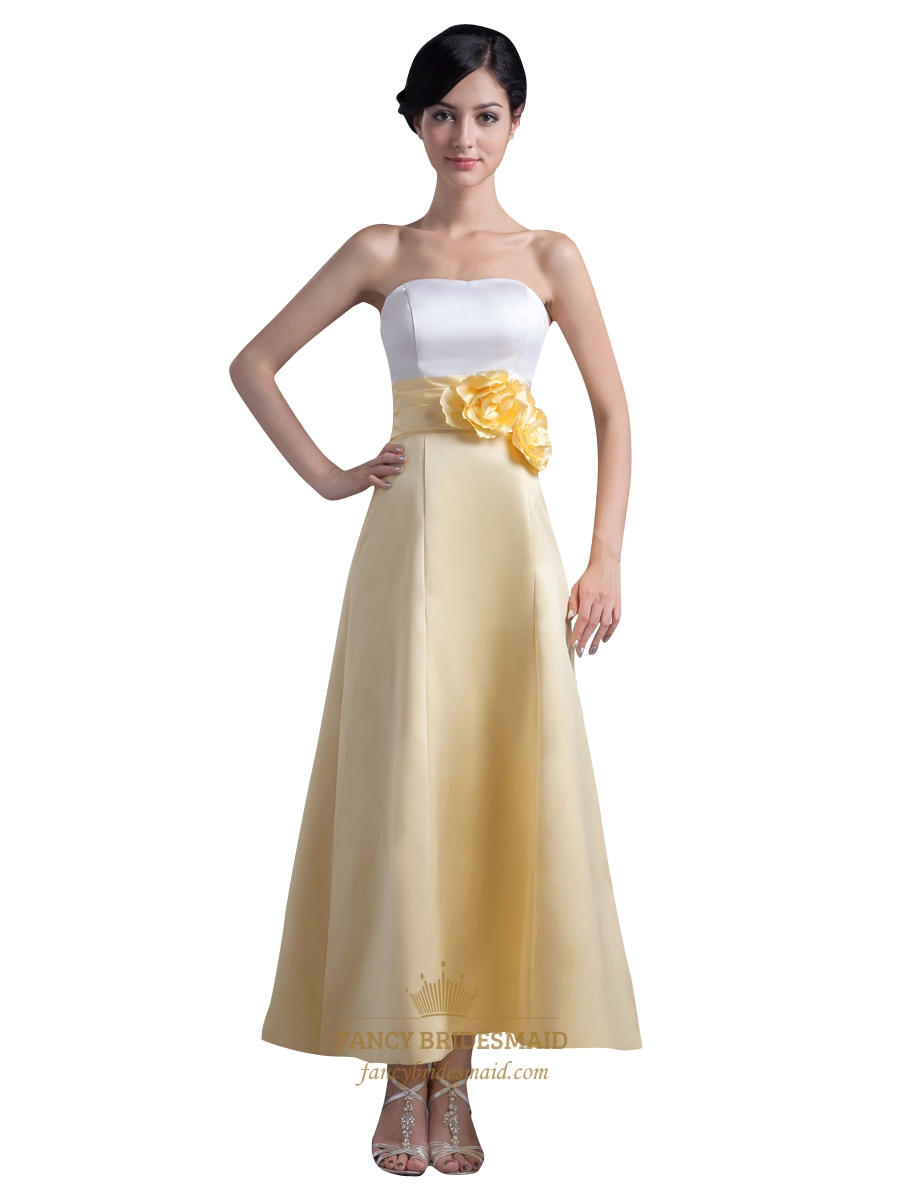 White and yellow ankle length bridesmaid dresses with flower white and yellow ankle length bridesmaid dresses with flower detail ombrellifo Gallery