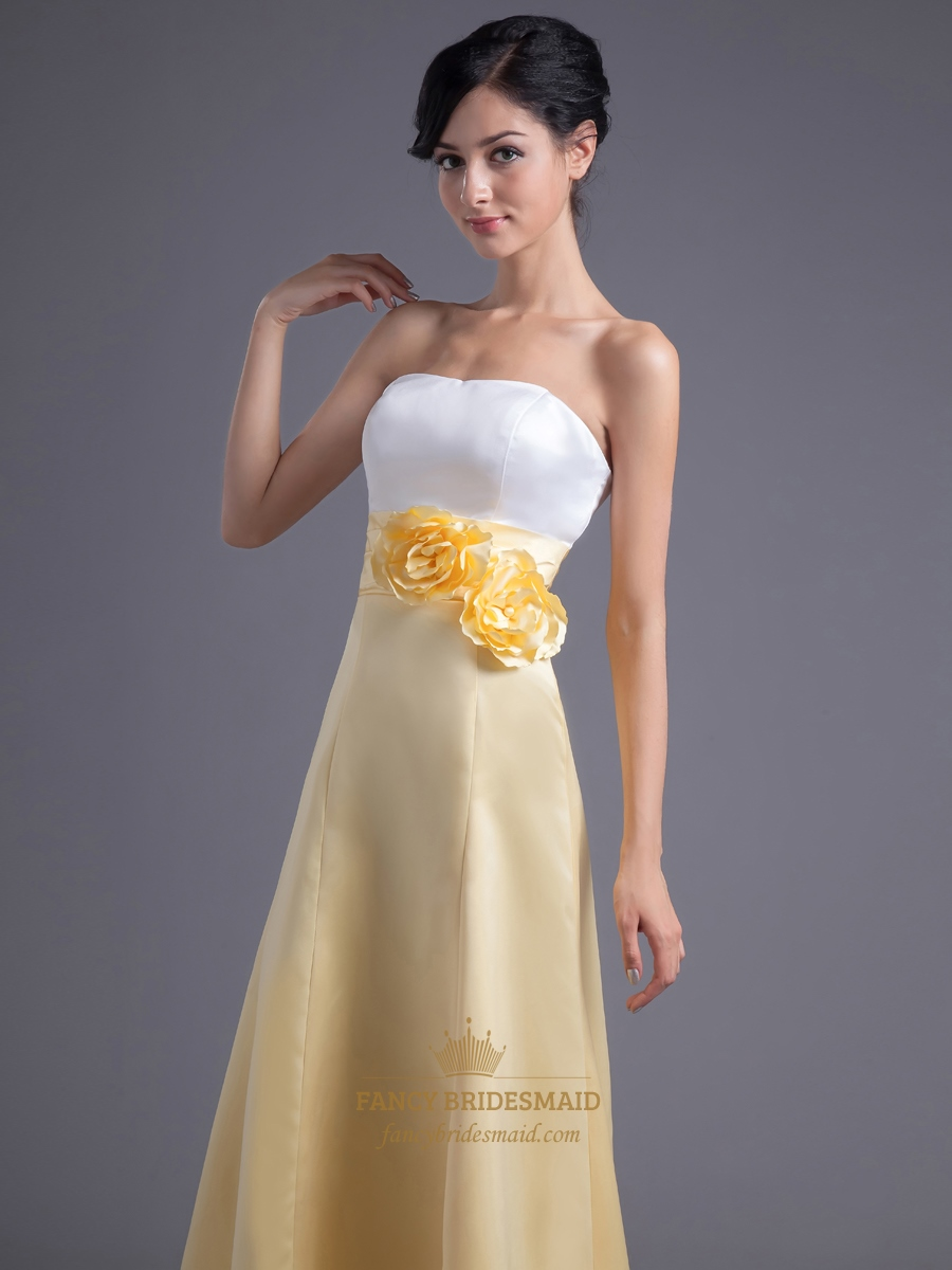 Yellow White Bridesmaid Dresses 115