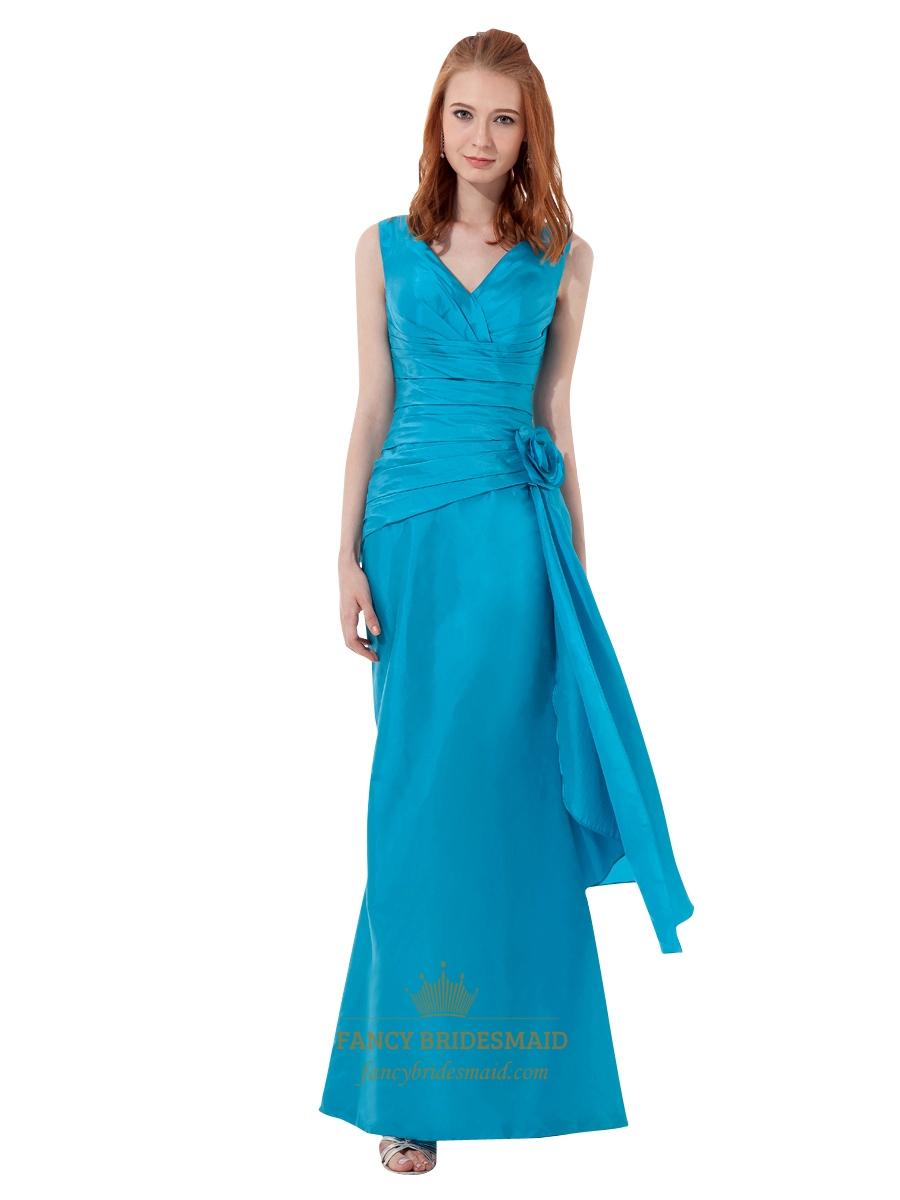 Blue taffeta v neck sheath bridesmaid dresses with flower for Wedding dress with blue detail