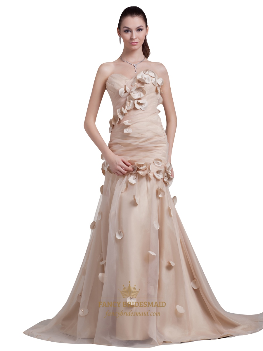 champagne strapless sweetheart mermaid organza prom dress