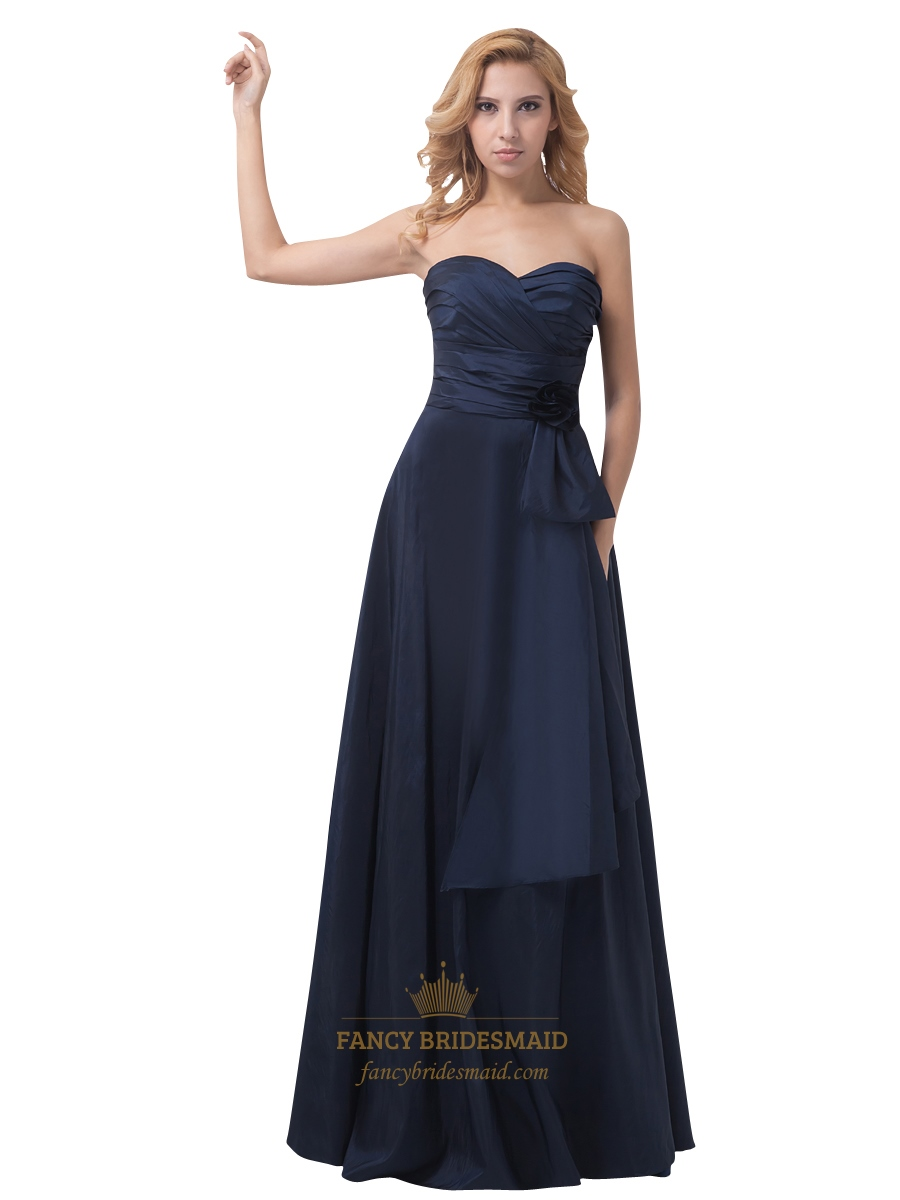 1b1338ad3ccd Navy Blue Strapless Sweetheart Flower Detail Bridesmaid Dress With Bow SKU  -NW1022