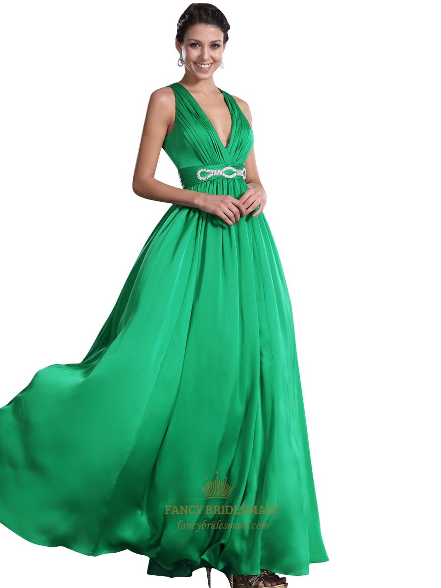 Green V Neck Open Back Chiffon Prom Dress With Embellished ...