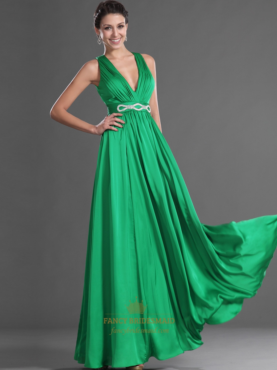 Green V Neck Open Back Chiffon Prom Dress With Embellished