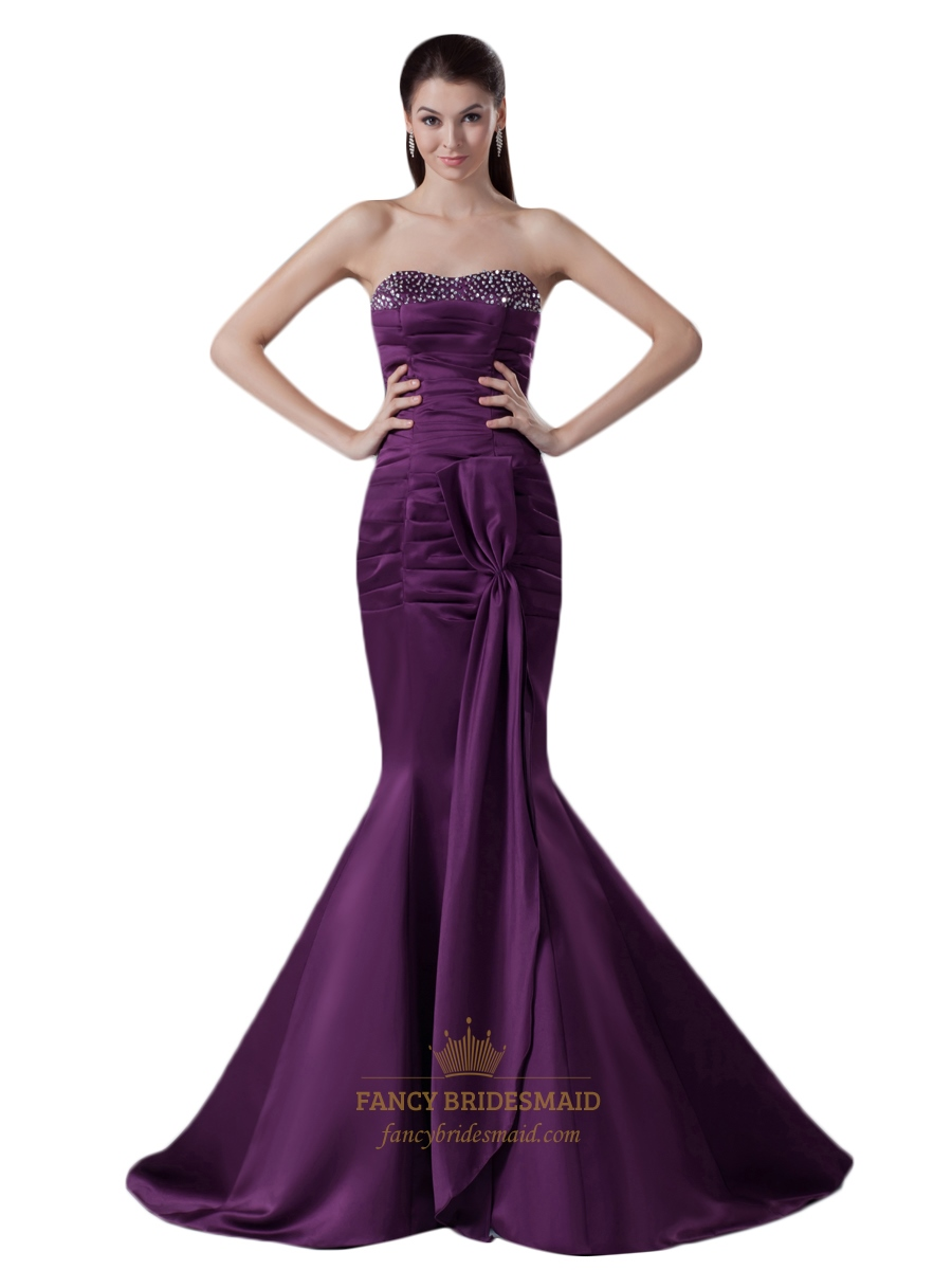 dark purple strapless mermaid beaded neckline prom dress