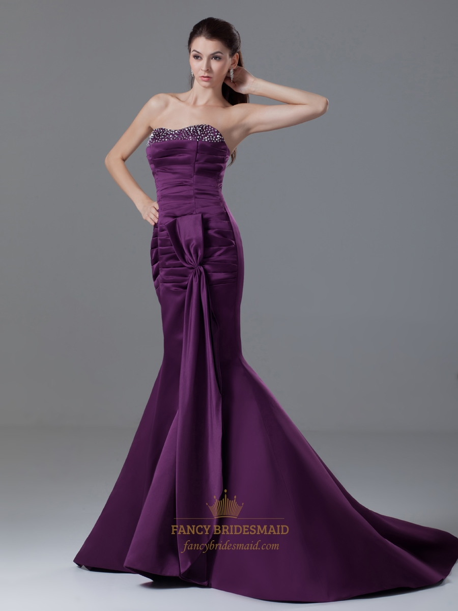 Dark Purple Strapless Mermaid Beaded Neckline Prom Dress ...