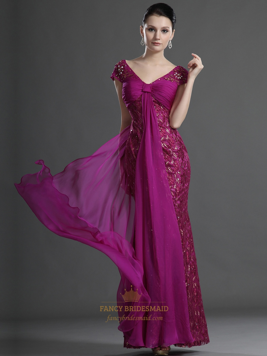 Hot Pink Lace Cap Sleeve V Neck Beaded Prom Dress With