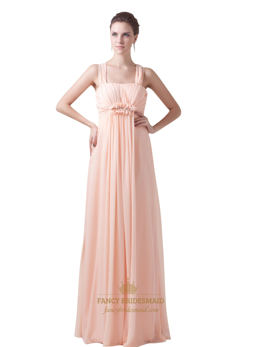 peach chiffon empire waist embellished bridesmaid dresses