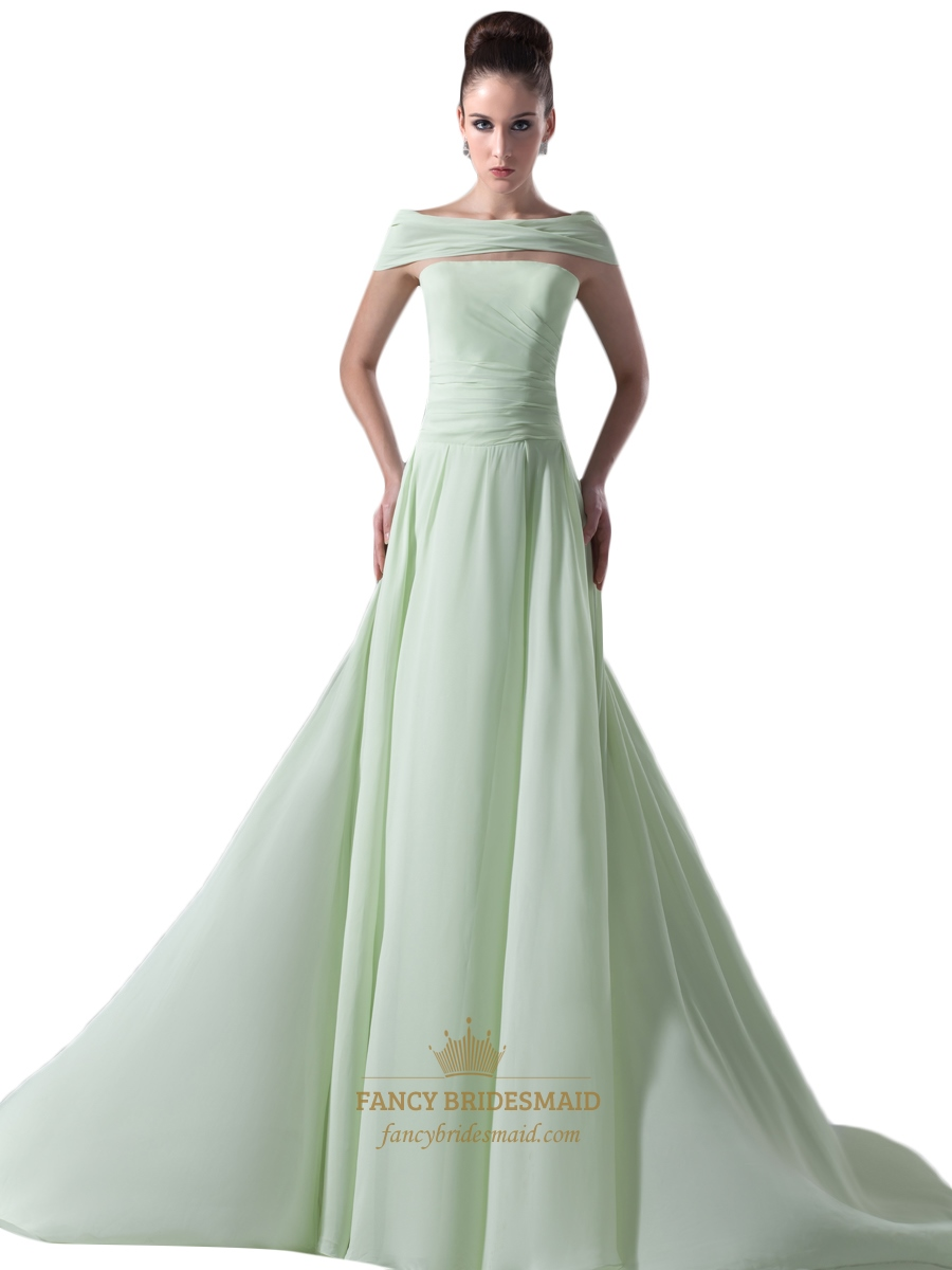 mint green strapless chiffon ruched bridesmaid dress with