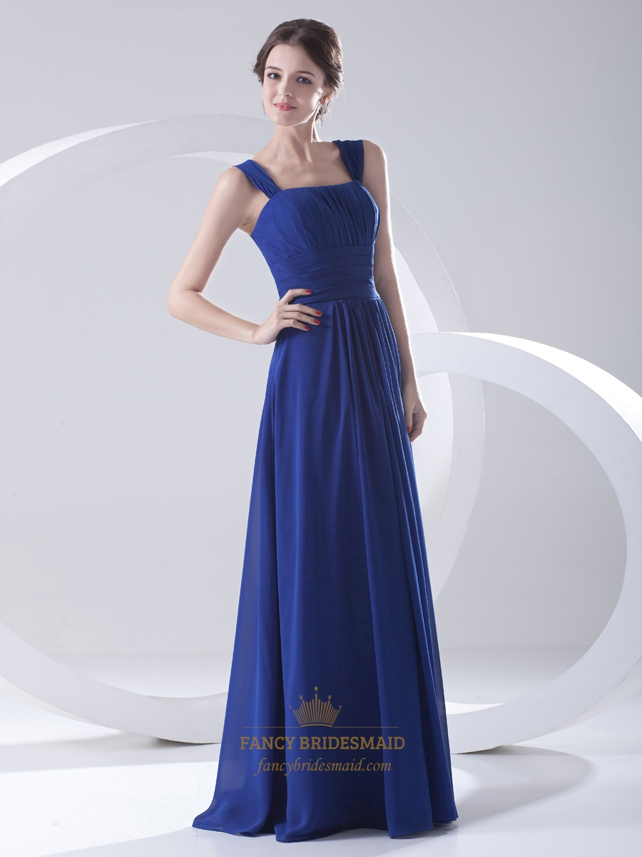 Blue royal bridesmaid dresses chiffon 2019