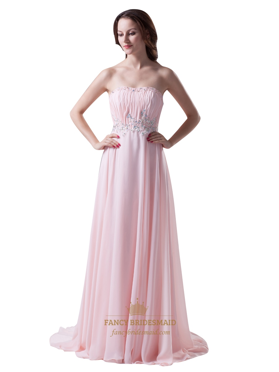 pink strapless chiffon bridesmaid dresses with beaded