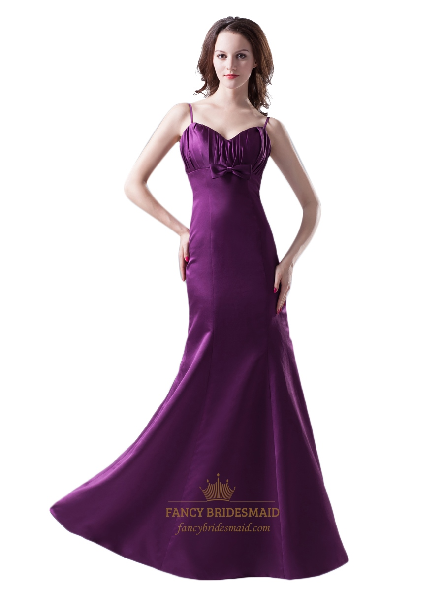 Purple spaghetti strap mermaid bow trim ruched bodice for Wedding dresses with purple trim