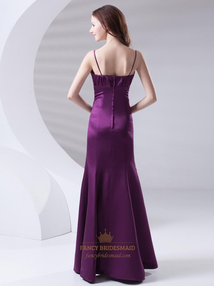 Purple Spaghetti Strap Mermaid Bow Trim Ruched Bodice ...