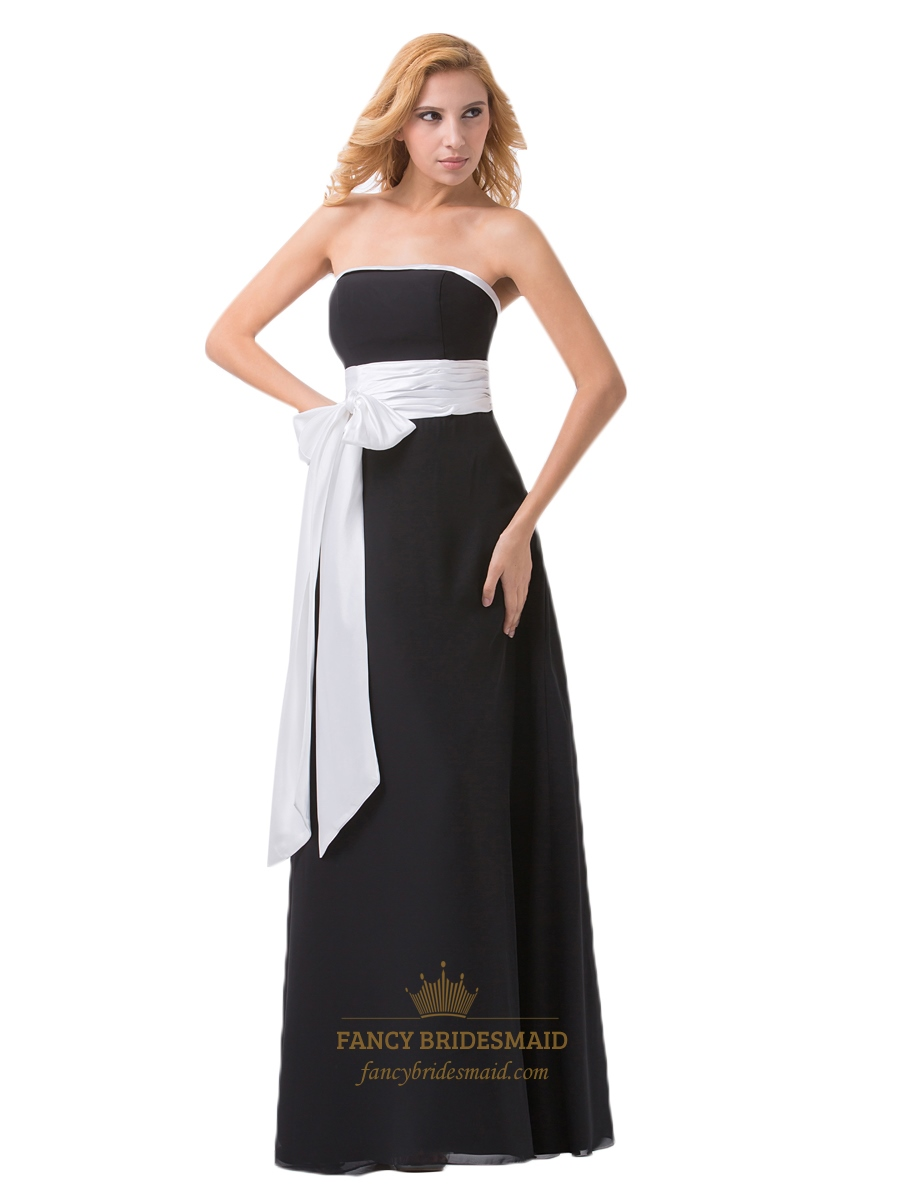Black Strapless Chiffon Ruched Waist Bridesmaid Dresses With White Sash