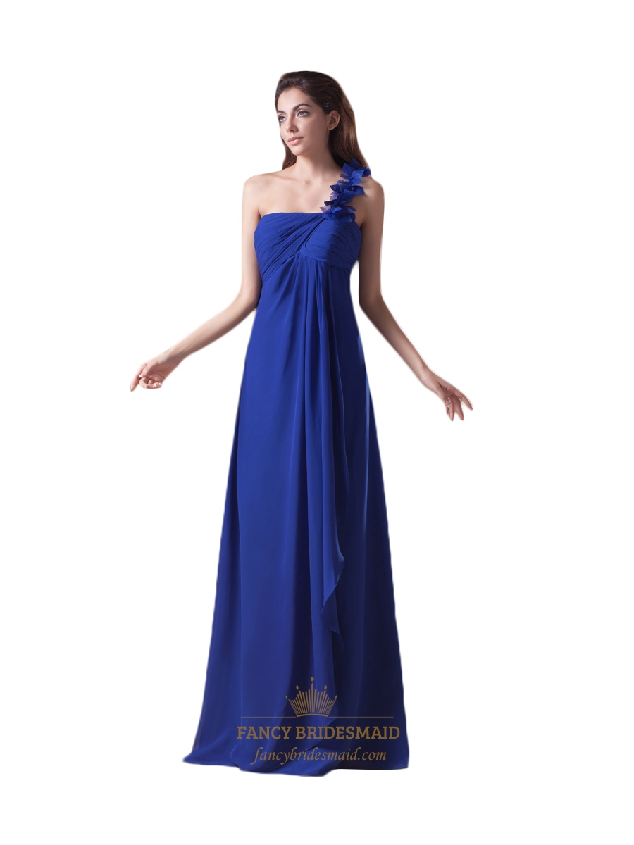 69b4f97e9a1 Royal One Shoulder Flower Strap Bridesmaid Dress With Cascading Ruffle SKU  -NW1049