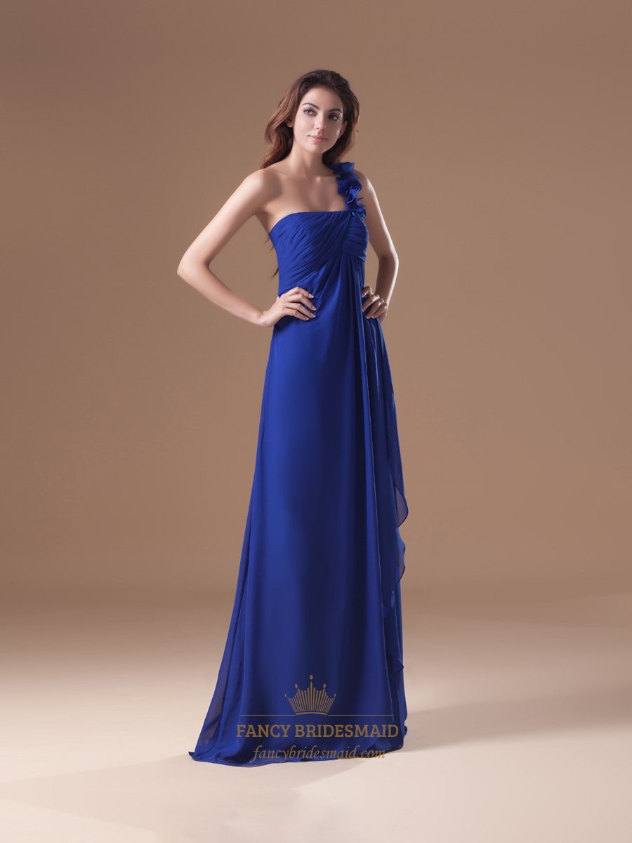 Royal one shoulder flower strap bridesmaid dress with for Wedding dresses one strap