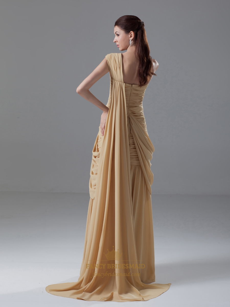 Gold sheath one shoulder sweetheart neckline draped for Sheath wedding dress with beading and side drape