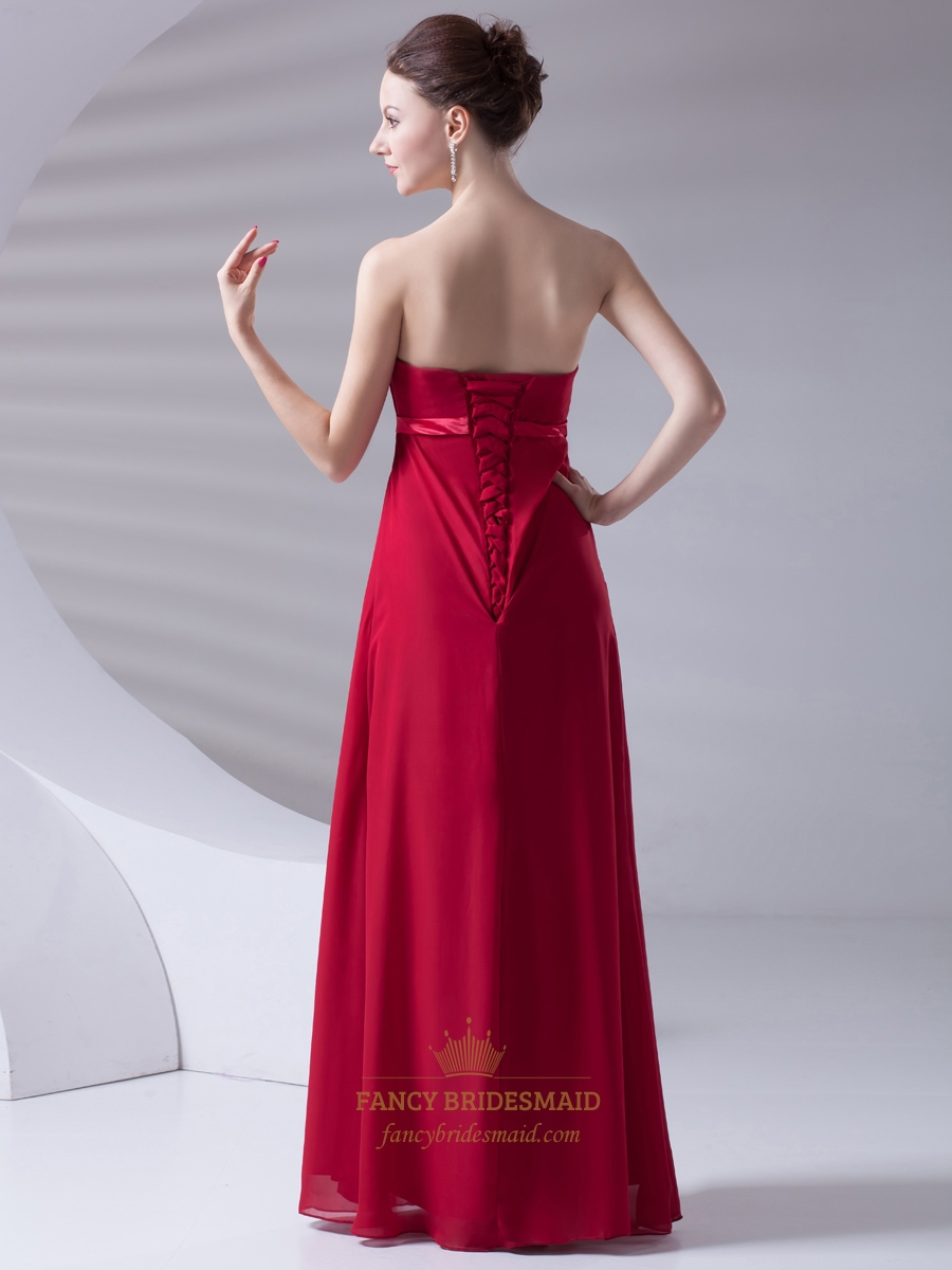 Red strapless empire waist chiffon bridesmaid dress with for Wedding dresses lace up back