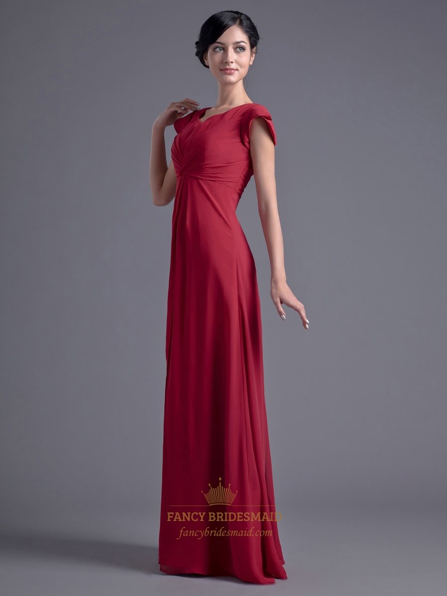 Red Chiffon Empire Floor Length Bridesmaid Dresses With