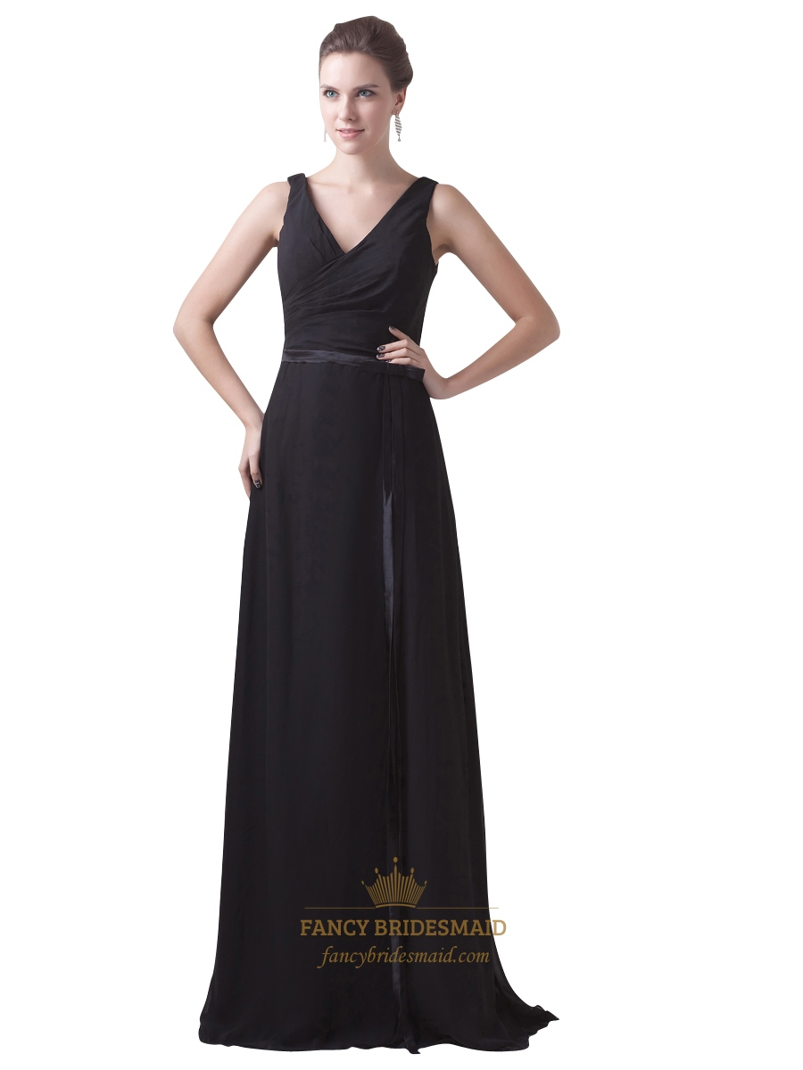 Black Chiffon V Neck Sleeveless Dresses For Outdoor Summer Wedding ...
