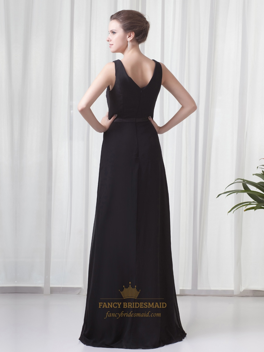 Black chiffon v neck sleeveless dresses for outdoor summer for Summer wedding dresses guest