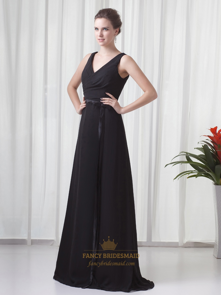 Black chiffon v neck sleeveless dresses for outdoor summer for Dress for outdoor wedding guest