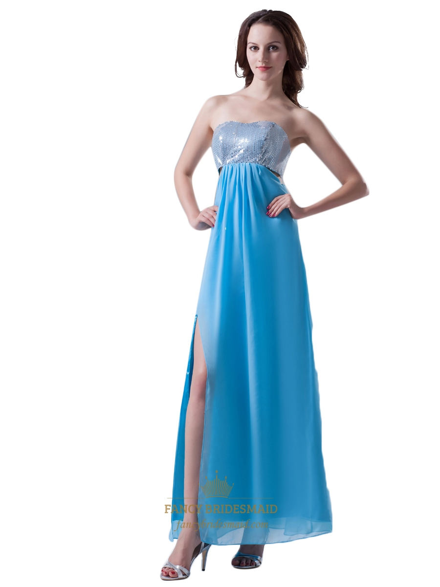 Aqua Blue Strapless Chiffon Cut Out Sides And Back Prom Dress With ...