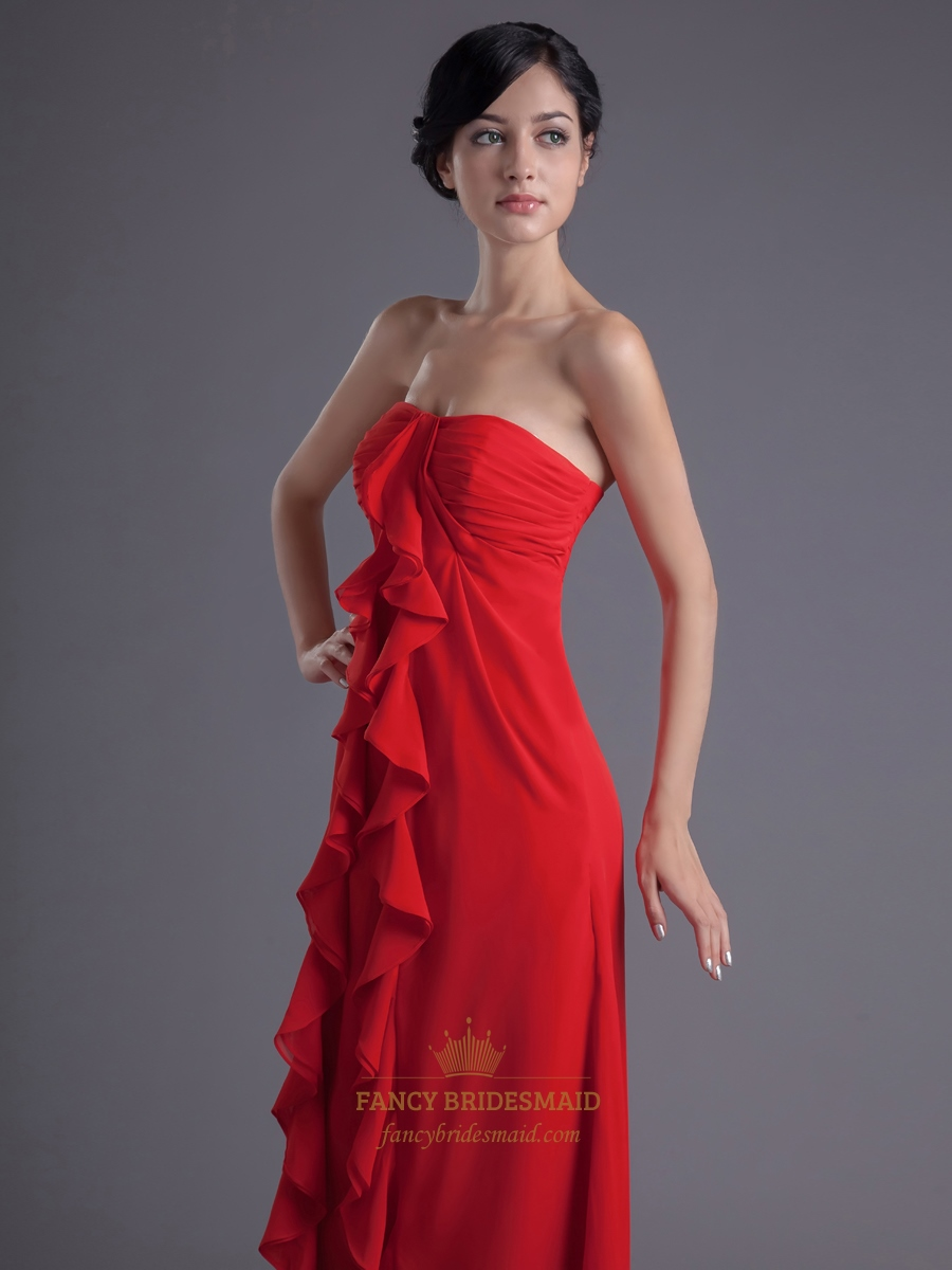 Red Sweetheart Chiffon Bridesmaid Dresses With Front