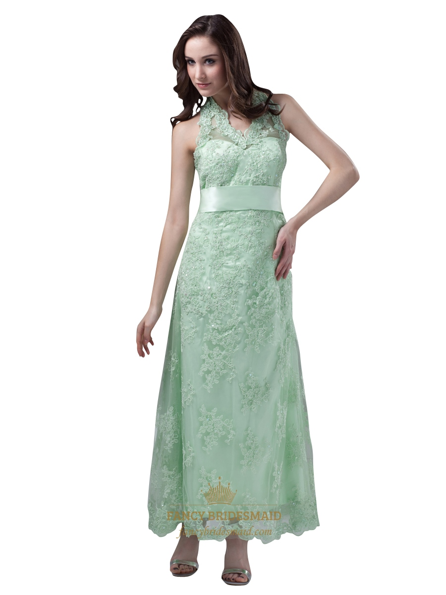 Mint green halter lace ankle length bridesmaid dress with for Mint green wedding dress