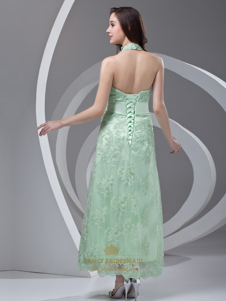 Mint Green Halter Lace Ankle Length Bridesmaid Dress With