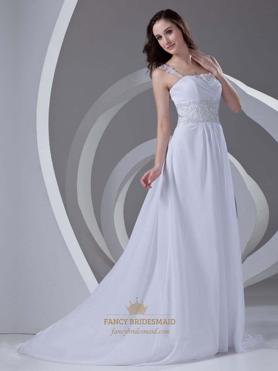 White Beaded Lace Applique Sweep Train Chiffon Wedding