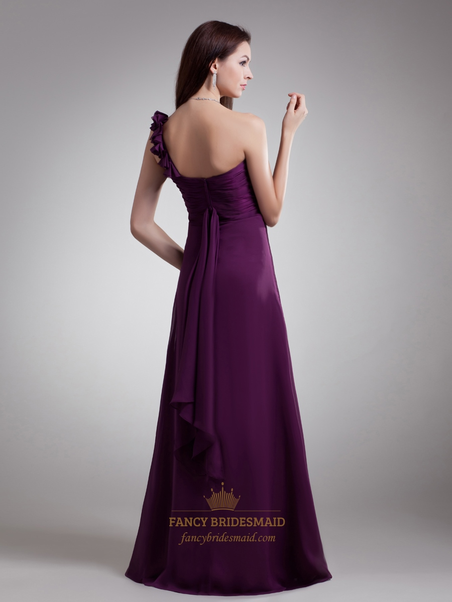 Purple Chiffon One Shoulder Bridesmaid Dress With ...