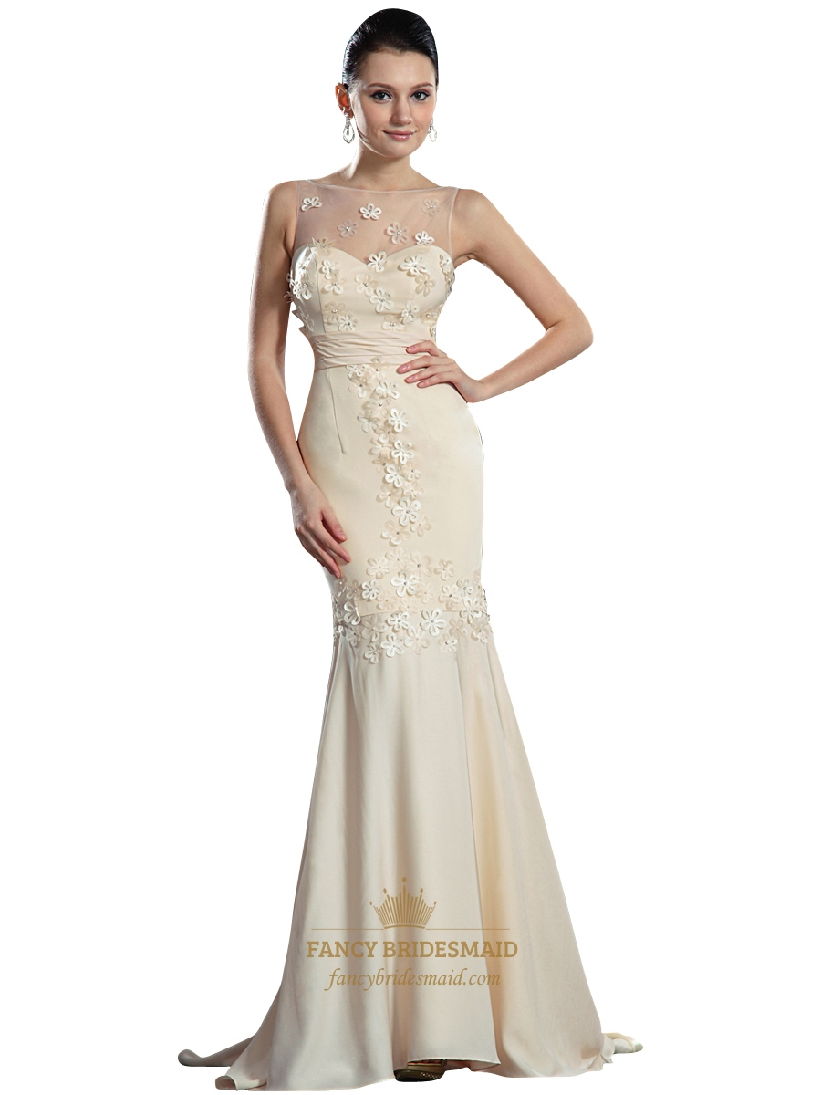 Champagne Illusion Neckline Mermaid Chiffon Prom Dress With Flowers