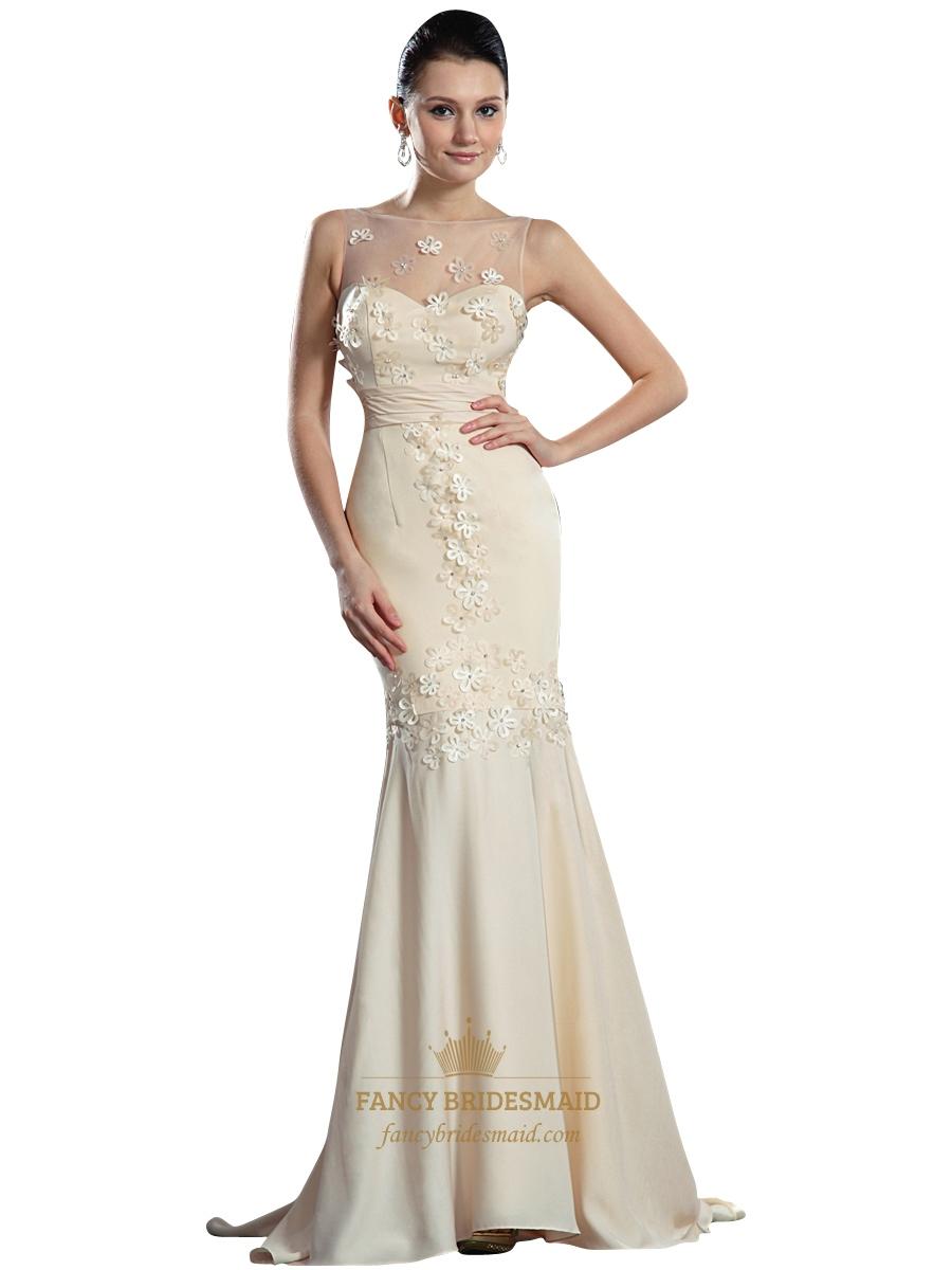 Champagne illusion neckline mermaid chiffon prom dress for Prom dress as wedding dress