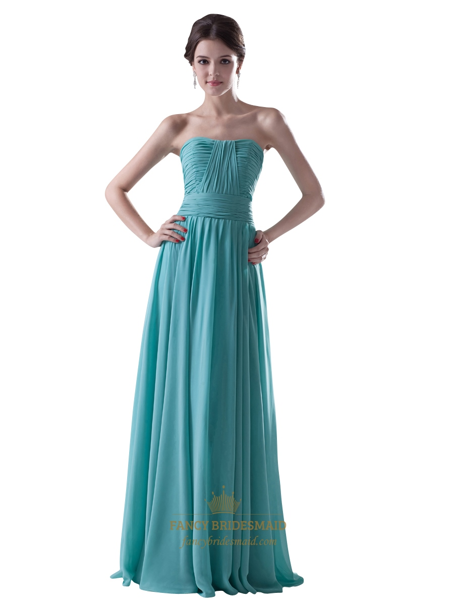 Turquoise Chiffon Strapless Ruched Bodice Bridesmaid Dress ...