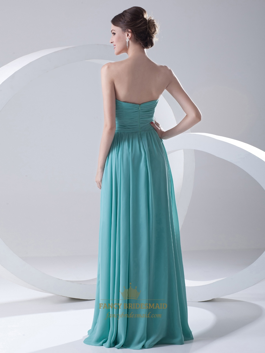 Turquoise chiffon strapless ruched bodice bridesmaid dress for Turquoise bridesmaid dresses for beach wedding